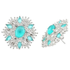 23.08cts aqua chalcedony white topaz 925 sterling silver earrings jewelry c20103