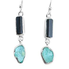 11.57cts aquamarine black tourmaline raw silver dangle handmade earrings r74311