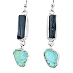 13.09cts aquamarine black tourmaline raw silver dangle handmade earrings r74314