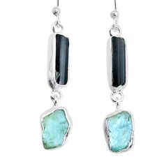 11.64cts aquamarine black tourmaline raw silver dangle handmade earrings r74316
