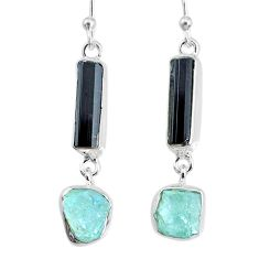 12.63cts aquamarine black tourmaline raw silver dangle handmade earrings r74317