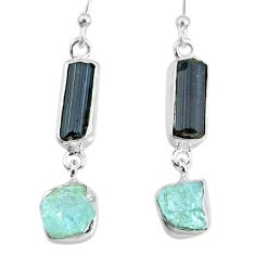12.10cts aquamarine black tourmaline raw silver dangle handmade earrings r74319