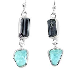11.57cts aquamarine black tourmaline raw silver dangle handmade earrings r74320