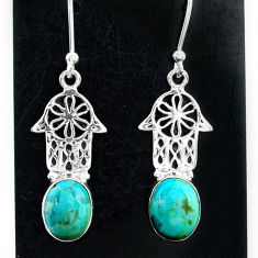 5.84cts arizona mohave turquoise 925 silver hand of god hamsa earrings t37340