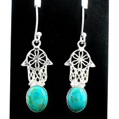 5.87cts arizona mohave turquoise 925 silver hand of god hamsa earrings t37347
