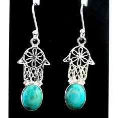 5.84cts arizona mohave turquoise 925 silver hand of god hamsa earrings t37348