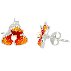 Art nouveau fine pearl enamel 925 sterling silver flower earrings c20894