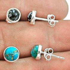 Australian obsidian copper turquoise 925 silver 2 pair studs earrings t50858