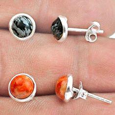 4.47cts australian obsidian copper turquoise silver 2 pair studs earrings t50811