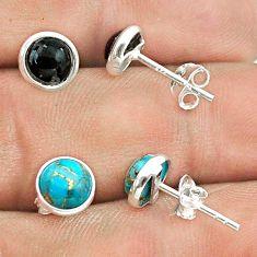 3.81cts australian obsidian copper turquoise silver 2 pair studs earrings t50843