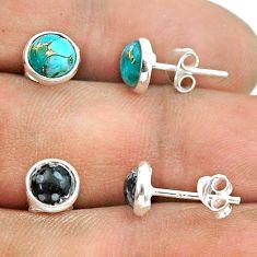 3.81cts australian obsidian copper turquoise silver 2 pair studs earrings t50849