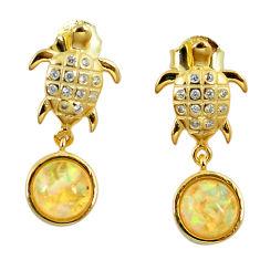 3.65cts white australian opal (lab) 925 silver 14k gold tortoise earrings c15523