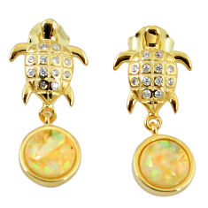 3.87cts white australian opal (lab) 925 silver 14k gold tortoise earrings c15530