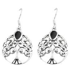 3.48gms black onyx enamel 925 sterling silver tree of life earrings c11649