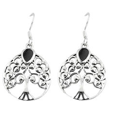 3.47gms black onyx enamel 925 silver tree of life earrings jewelry c11651