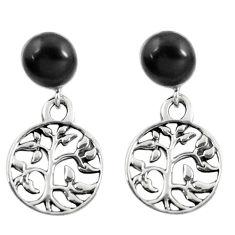 4.34cts black onyx enamel 925 silver tree of life earrings jewelry c11650