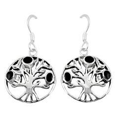 3.69gms black onyx enamel 925 silver tree of life earrings jewelry c11645