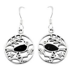 3.84gms black onyx enamel 925 sterling silver birds earrings a91931 c14201