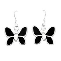 6.02gms black onyx enamel 925 sterling silver butterfly earrings a91916 c13632