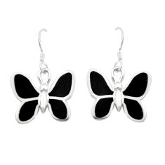 6.02gms black onyx enamel 925 sterling silver butterfly earrings a91916 c13640