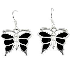 Black onyx enamel 925 sterling silver butterfly earrings jewelry a49656 c14335