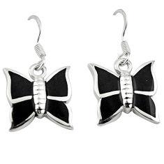 Black onyx enamel 925 sterling silver butterfly earrings jewelry a64467 c13631