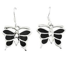 Black onyx enamel 925 sterling silver butterfly earrings jewelry a67815 c14334