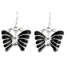 Black onyx enamel 925 sterling silver butterfly earrings jewelry c11781