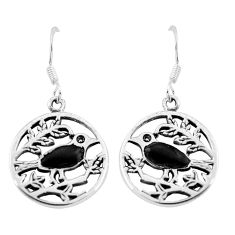 3.26gms black onyx enamel 925 sterling silver dangle earrings jewelry c11642