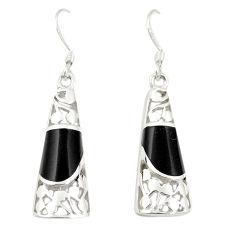 Black onyx enamel 925 sterling silver dangle earrings jewelry c11751