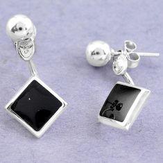 Black onyx enamel 925 sterling silver dangle earrings jewelry c25708