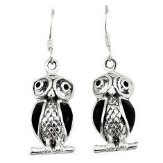 Black onyx enamel 925 sterling silver owl earrings jewelry c11851