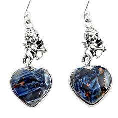 11.64cts black pietersite (african) 925 silver angel wings earrings r46797