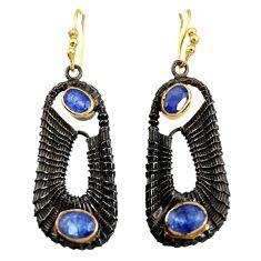 5.68cts black rhodium natural blue kyanite 925 silver 14k gold earrings d40427