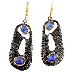 Clearance Sale- 5.93cts black rhodium natural blue tanzanite 925 silver 14k gold earrings d40423