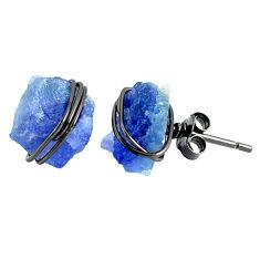 9.74cts black rhodium natural blue tanzanite raw silver stud earrings r79641
