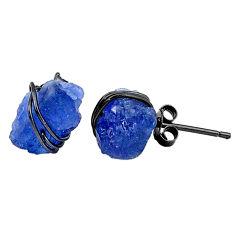 8.79cts black rhodium natural blue tanzanite raw silver stud earrings t6505