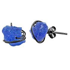 8.87cts black rhodium natural blue tanzanite raw silver stud earrings t6506
