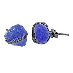 9.45cts black rhodium natural blue tanzanite raw silver stud earrings t6507