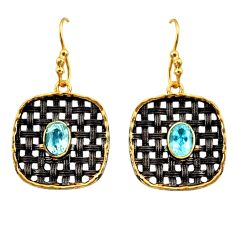 3.56cts black rhodium natural blue topaz 925 silver gold dangle earrings d45708
