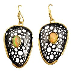 Clearance Sale- 4.26cts black rhodium natural ethiopian opal 925 silver 14k gold earrings d40428