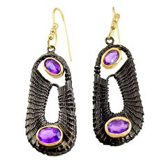 5.81cts black rhodium natural purple amethyst 925 silver gold earrings d40421