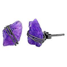 7.16cts black rhodium natural purple amethyst raw silver stud earrings t6509