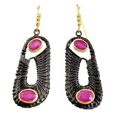 5.68cts black rhodium natural red ruby 925 silver 14k gold earrings d40425