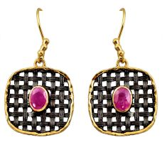 Clearance Sale- 3.48cts black rhodium natural red ruby 925 silver gold dangle earrings d45709