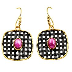 Clearance Sale- 3.56cts black rhodium natural red ruby 925 silver gold dangle earrings d45713