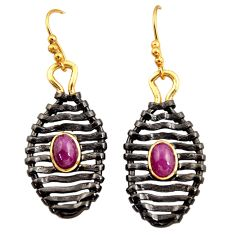 3.48cts black rhodium natural red ruby 925 silver gold dangle earrings d45717