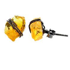 6.55cts black rhodium yellow citrine raw 925 silver stud earrings r79661