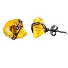 7.80cts black rhodium yellow citrine raw 925 silver stud earrings r79662