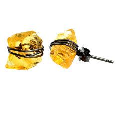 7.80cts black rhodium yellow citrine raw 925 silver stud earrings r79663